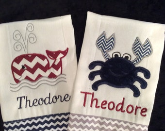Crab and Whale Burp Cloth Set