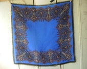 Vintage acrylic scarf blue paisley black pink gold 31 x 31 inches