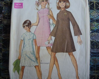 vintage 1960s simplicity sewing pattern 7938 junior dress in two lengths size 11