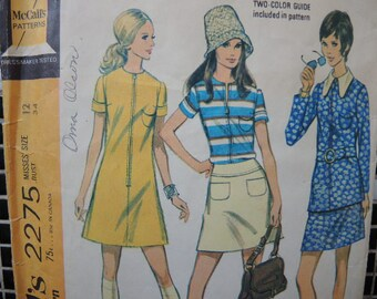 vintage 1970s McCalls sewing pattern 2275 misses separates dress blouse and skirt size 12