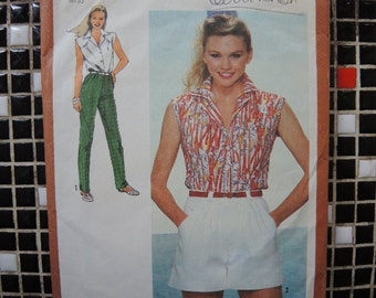 Vintage 1980s Simplicity sewing pattern 9552 misses shirt wide leg shorts and straight leg pants size 6 8