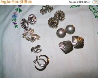 50% OFF vintage earrings destash lot , vintage earrings lot of 8 pair earrings, vintage silvertone earrings
