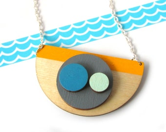 Statement Necklace - Geometric Jewellery - Semi Circle Necklace - Contemporary Jewelry - Circle Pendant - Chunky Necklace - Gift For Friend