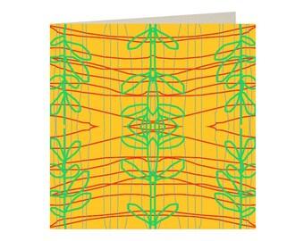 Mustard Yellow Abstract Cactus Greetings Card
