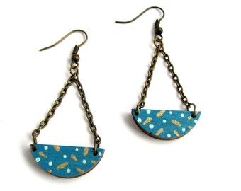Geometric Semi Circle Polka Dot Drop Earrings