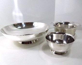 Silver Fruit Bowls, Three silver bowls, Small Medium and Large, F.B. Rogers, WM. Rogers, home décor, vintage, gift for woman, kitchenware
