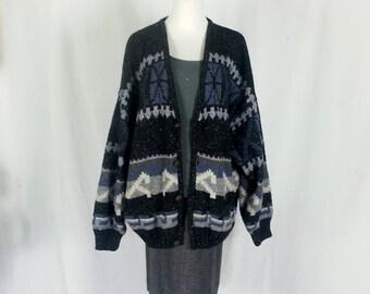 Vintage 80's Sweater Slouchy Sweater Cardigan Extra Large BOYFRIEND Sweater Zig Zag Geometric 90's Oversized Sweater Grandpa Sweater EX D