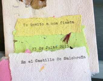 Invitation - Handmade recycled paper