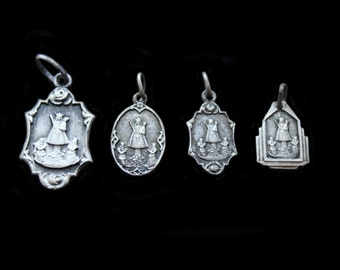 SALE-Four Beautiful Antique TINY French Silver Religious Medals -The Holy Virgin Mary-Detailed & Charming
