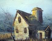 Vintage Original William Newport Oil on Canvas Painting Barn, Farm, Farmhouse, Country, Rustic, Pastoral, Landscape, Artist Signed, Oklahoma