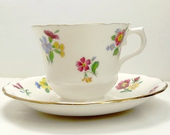Vintage Royal Vale Bone China Teacup and Saucer Spring Flowers
