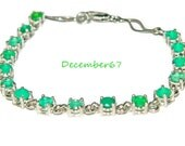 Emerald Green Bracelet, Sterling Silver, Natural Green Onyx Gemstones