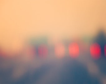Travel Photography - dreamy - urban art print - street photograph - lights - bokeh - fog - blur - rain - road trip - pink - red - fPOE