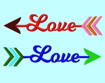 Arrow Love  Embroidery Design 4 sizes  INSTANT Download