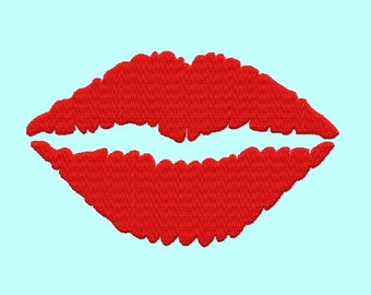 Red Lips Filled Embroidery Designs 2,3,4,5 inches sizes INSTANT Download