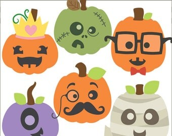 Halloween Clip Art Funny Pumpkins -Personal and Limited Commercial Use- Cute jacko-lantern Clipart