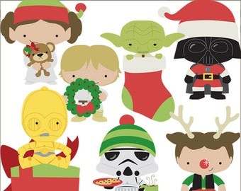Star Heroes Christmas Clipart Set -Personal and Limited Commercial- Trooper, Princess, Wars