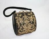 Vintage Black Gold Embroidered Velvet Cocktail Purse Evening Bag