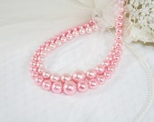 Vintage Pink Double Strand Pink Faux Pearl Choker Necklace Perfect for a Wedding Perfect for Any Occasion