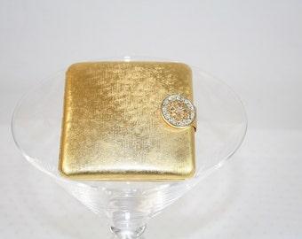 Vintage Avon Goldtone Compact  with Rhinestone Clasp Vintage Compact Classy Compact Stylish Vintage Avon Compact