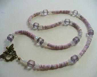 Purple Necklace, Lavender Cebu Heishi Shell Bead, Chandelier, Eyeglass Holder, Necklace, Weddings, Dragon Fly, Antique Brass, Sunglasses