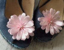 Party Shoe Accessory, Party Shoe Clip, Light Pink Shoe Clips, Pink Shoe Pins, Blush Shoe Flower, Satin Flower Shoe Pin