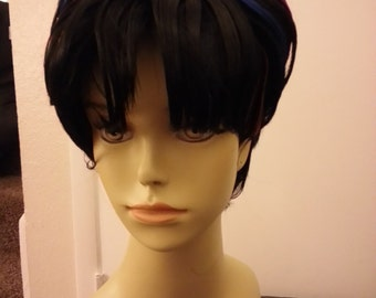 Short Black Costume Wig with Rainbow Highlights