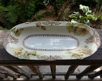 Gorgeous Hermann Ohme Silesia Old Ivory Celery Dish Antique Hand Painted Poppies