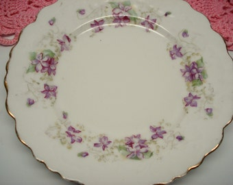 Vintage Wedding Dessert Plates Purple Violets China Bread Butter Plates Shabby Chic Set of 2 Vintage Bridal