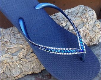 Havaianas Slim Flip Flops Navy Blue Bermuda Ocean Sea w/ Swarovski Crystal  Sophisticate Wedding Sandals Jewel Bling Rhinestone Beach Shoes