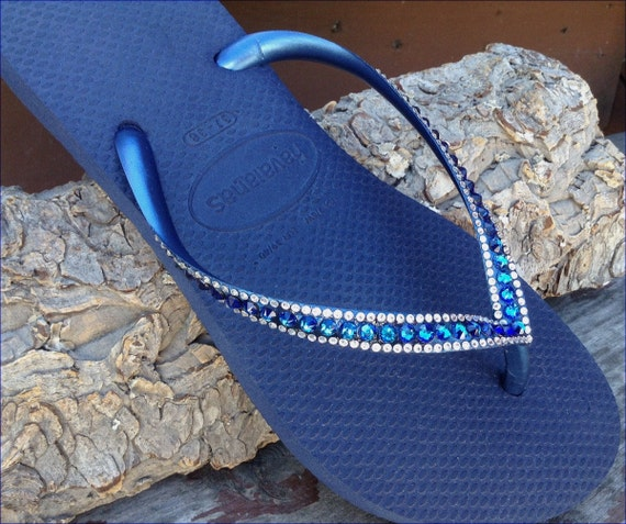 Havaianas Slim Flip Flops Navy Blue Bermuda Ocean Sea w/ Swarovski Crystal  Sophisticate Wedding Sandals Jewel Bling Rhinestone Beach Shoes