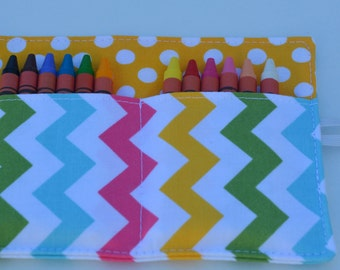 Girls crayon roll, up to 12 crayons, 6''x4.5''. Multi color chevrons & yellow polka dots. Kids gift, girls gift.  Add crayons option.