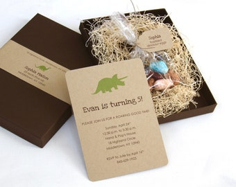 Dinosaur Birthday Party Invitation - Box Mailer, Candy Dinosaur Eggs, Personalized Tag, Shredded Wood Filler, Multi-Layered