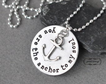 Anchor necklace, inspirational, silver,anchor, ball chain, long chain,for him, for her,unisex jewelry,nautical,you are the anchor to my soul