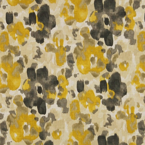 Uw Pillow Fort Modern : Yellow Charcoal Grey Linen Upholstery Fabric - Watercolor Floral Curtain Panels - Modern Yellow ...
