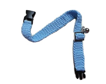 Cat collar-collar cat-adjustable collar-custom collar-crochet cat collar-cat accessories-.Adjustable cat collar blue with Bell