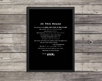 In this house |  Minimalist Poster | Typography | Kids room decor | geek poster
