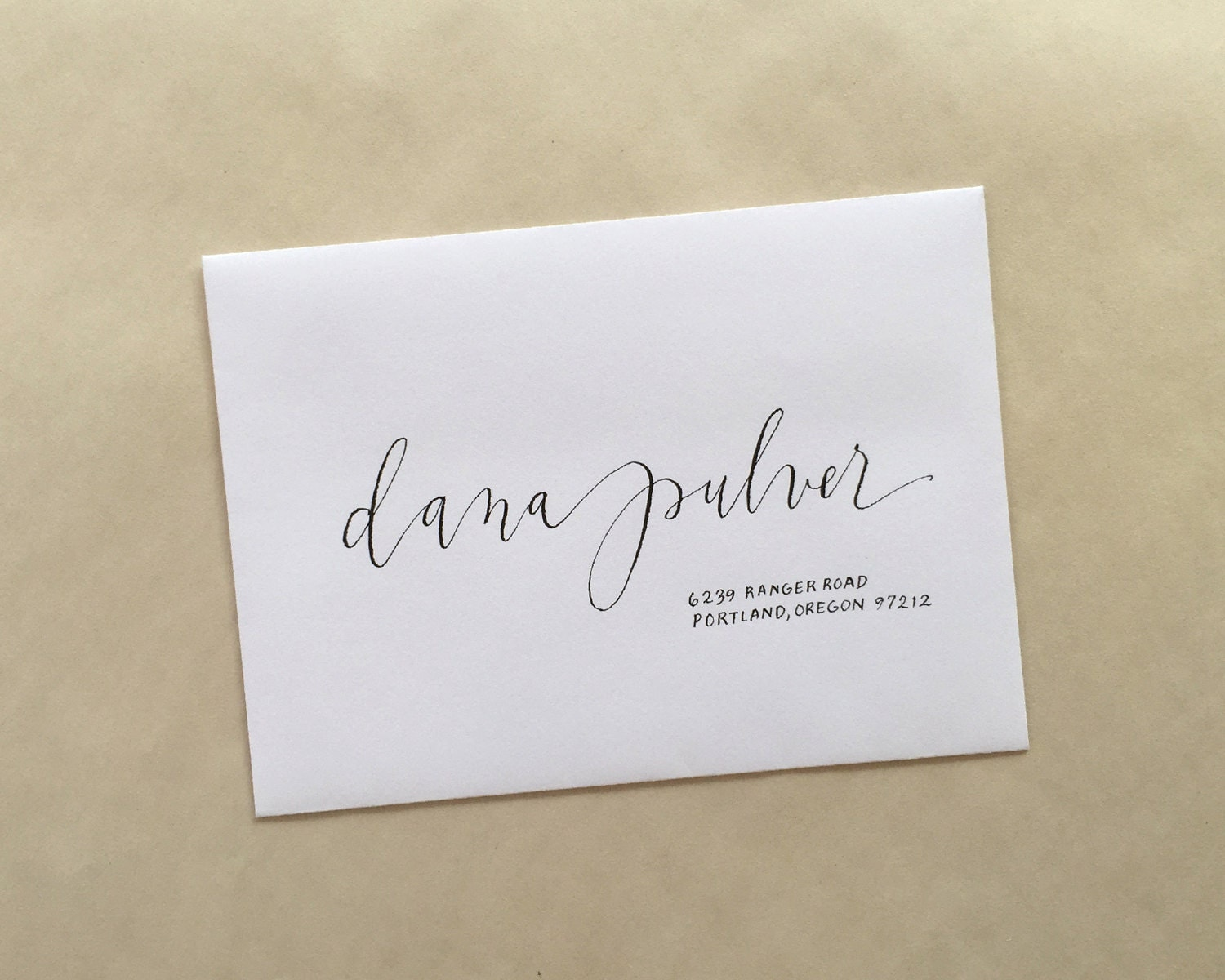 Modern calligraphy envelope addressing by portlandpalomino