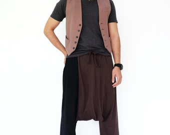 NO.194 Brown and Black Cotton Jersey Casual Drop Crotch Pants, Two Tone Harem Trousers, Unisex Pants