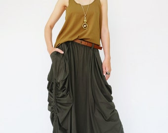 NO.123 Dark Olive Cotton Jersey Mega Pocket Maxi Skirt