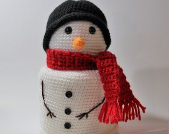 Handmade Crochet Snowman Toilet Paper Cover - Spare Roll Holder - Toilet Paper Cozy