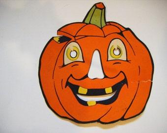 Antique Jack O Lantern Cardboard Halloween Decoration