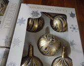 Vintage Mexico Glass Christmas Ornaments - total of 20 - made by Silvestri - clear with gold and silver glitter