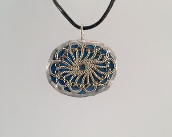 Blue Green Stained Glass Filigree Pendant, Reversible Stained Glass Pendant,  Stained Glass Necklace, Statement Piece, Unique gift, kimsjoy