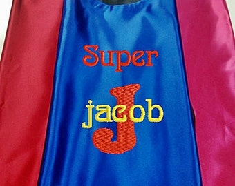 Superhero KID'S's Cape,  Embroidered Personalized Initial and Name