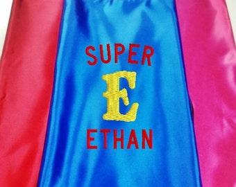Superhero KID'S's Cape,   Super Hero Cape, Kid's Cape, Costume Cape, Monagram Embroidered Personalized