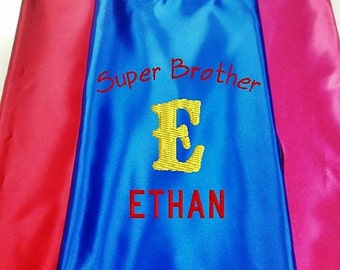 Super Hero KID'S's Cape, Personalized   Super Brother Cape  Embroidered with Monogram and Name Royal Blue