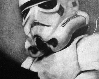 Stormtrooper, Star Wars, Black & White, Art, Portrait, Original Painting, Movie, Film