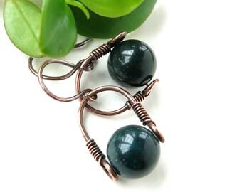 Green bloodstone earrings - copper wire wrapped gemstone bead