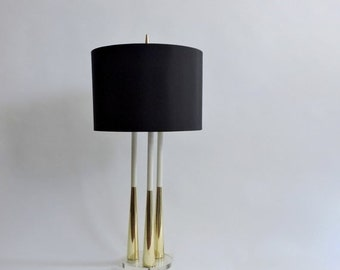Half Price SALE Tripod Brass and Lucite Lamp. Mid Century Modern Table Lamp.